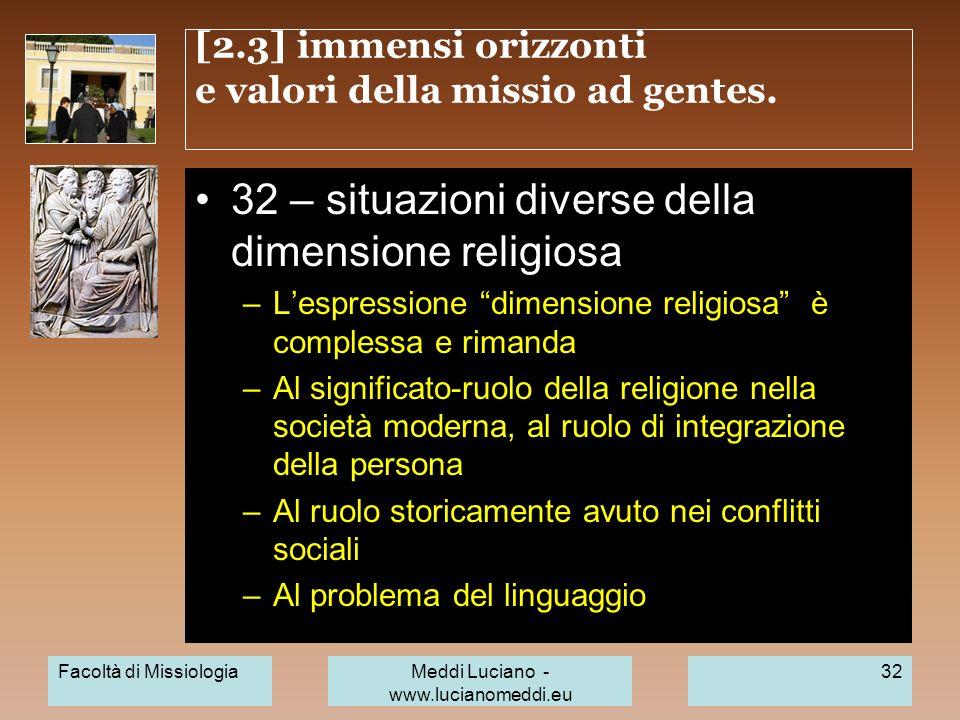 [2.3] immensi orizzonti e valori della missio ad gentes.